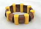 BAKELITE STRING BRACELET IN YELLOW AND BROWN