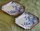 Japanese Imari  rhombus blue and white dish 19 th
