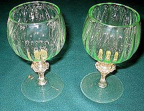 Nice Venetian Murano wine glass pair Italy