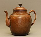 Japanese Copper Teapot w Etched Flowers
