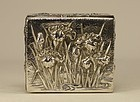 Japanese Silver IRIS FLOWERS Box Signed