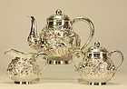 Japanese Silver Tea Set w Dragons Marked & Signed