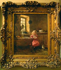 Little Girl with Kitten: Rene Louis Chretien