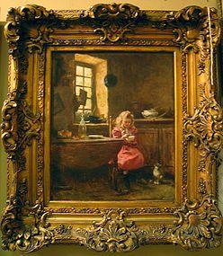 Little Girl with Kitten: Rene Louis Chretien