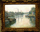 Impressionist French River in Vetheuil: Claude