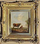 Cow & Goat in Landscape: Max Wagenbauer