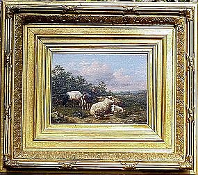 Sheep & Goat in Landscape: Eugene Maes