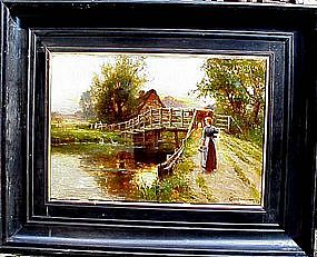 Sunset with Woman & Cow on Bridge: Ernest Walbourn