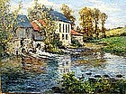 Mill on Pond in Autumn: Frederic Charles Vipont Ede