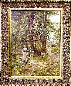 Landscape with Woman & Dog: Henry John Yeend King
