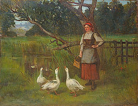 Woman with Geese in Orchard: Henry John Yeend King