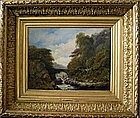 River Landscape with Fisherman: John Linnell