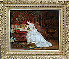 """Lady in White Dress on Sofa"": George Croegaert"
