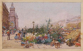 Paris Street Scene with Flowers: Eugene Galien-La Loue