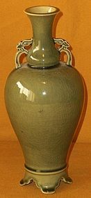 Antique Japanese Celadon Flower Vase Dated C. 1900