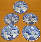 Antique Japanese Set of 5 Printed Porcelain Plates