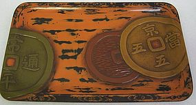 Antique Japanese Negoro Lacquered Tray C.1930