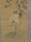 Antique Japanese Kano Ryoji Crane Scroll, Edo Period