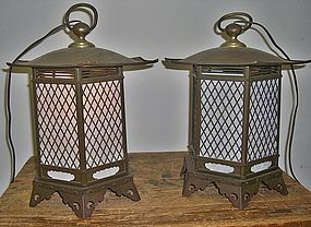 Antique Japanese Pair Temple Lanterns C.1930