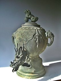 Exceptional Antique Japanese Bronze Temple Mizubachi