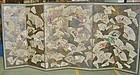 Antique Japanese 6 Panel Screen, Fan Motif C.1910
