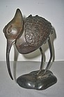 Antique Japanese Bronze Egret Koro Incense Burner