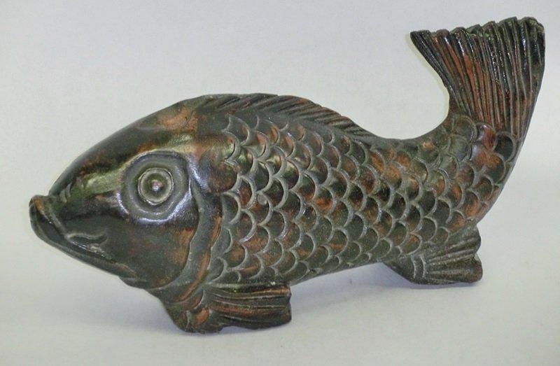 Antique Japanese Zelkova Jizaikagi Hearth Fish C.1920