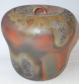 Antique Japanese Bizen Ceramic Tea Ceremony Mizusashi by Toko