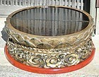 Antique Japanese Lacquered Wood Lotus Leaf Large Stand, C.1900