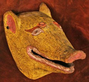 Painted Tibetan Pig Mask