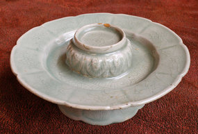 Exquisite Lotus Form Celadon Saucer, 12th Century
