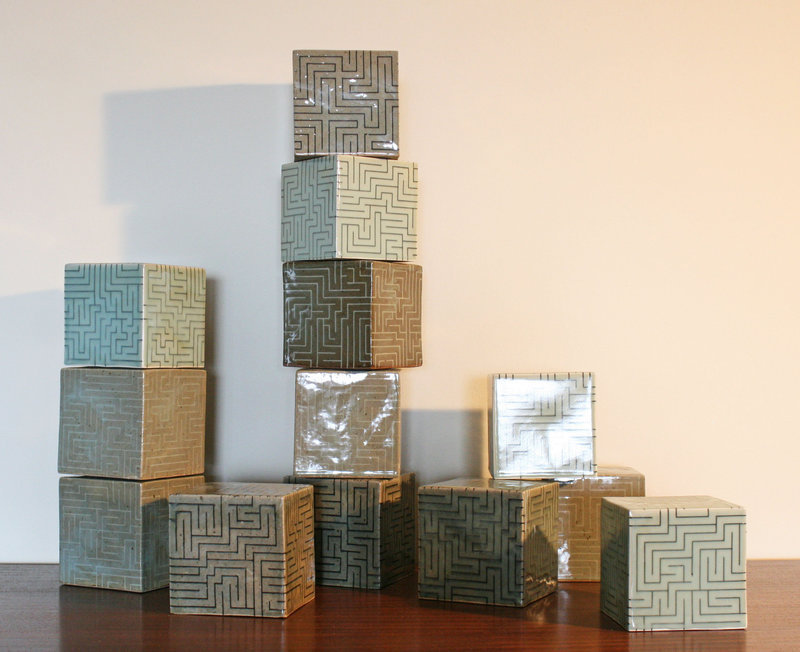 Ensemble of The Many Shades of Celadon by Korean Artist Joo Ji Wan