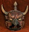 Bhutanese Bon Deity Kyung Mask of Papier Mache
