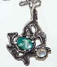 Modernist Moonstone & Green Stone Sterling Pendant