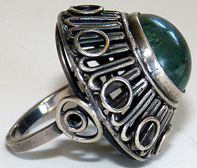 Large Signed European Sterling Green Gemstone Ring