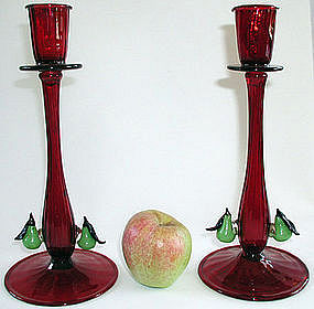 Early Murano Ruby Red Candlesticks with Applied Pears