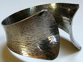 Wide Textured 1971 Swedish Modernist Cuff Bracelet