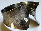 Wide Textured 1971 Swedish Modernist Cuff Bracelet