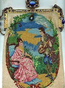 Scenic Figural Glass Beaded Purse
