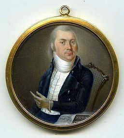 Superb Swiss Miniature Painting of Architect  c1785