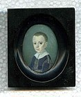 Wonderful Joseph Saunders Ivory Painting of Boy c1790