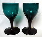 A Pair of 18th Century Antique English Coloured Wine Glasses