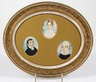 A Family Group of 3 American Portrait Miniatures c1820