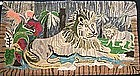 Vibrant Ross Hooked Rug, Lion and Palm; c 1890