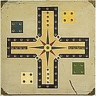Spectacular American Parcheesi Game Board  Early 20th C