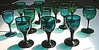 Various Colored English Wine Glasses c 1800