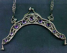 Silver and Real Amethyst Jeweled Purse Frame 19th C