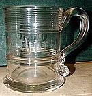 18th Century Glass Mug with Engraving