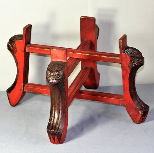 Chinese Lacquer on wood X cross shape Display Stand