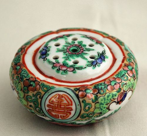 Chinese Export Rose Medallion Porcelain salt Shaker